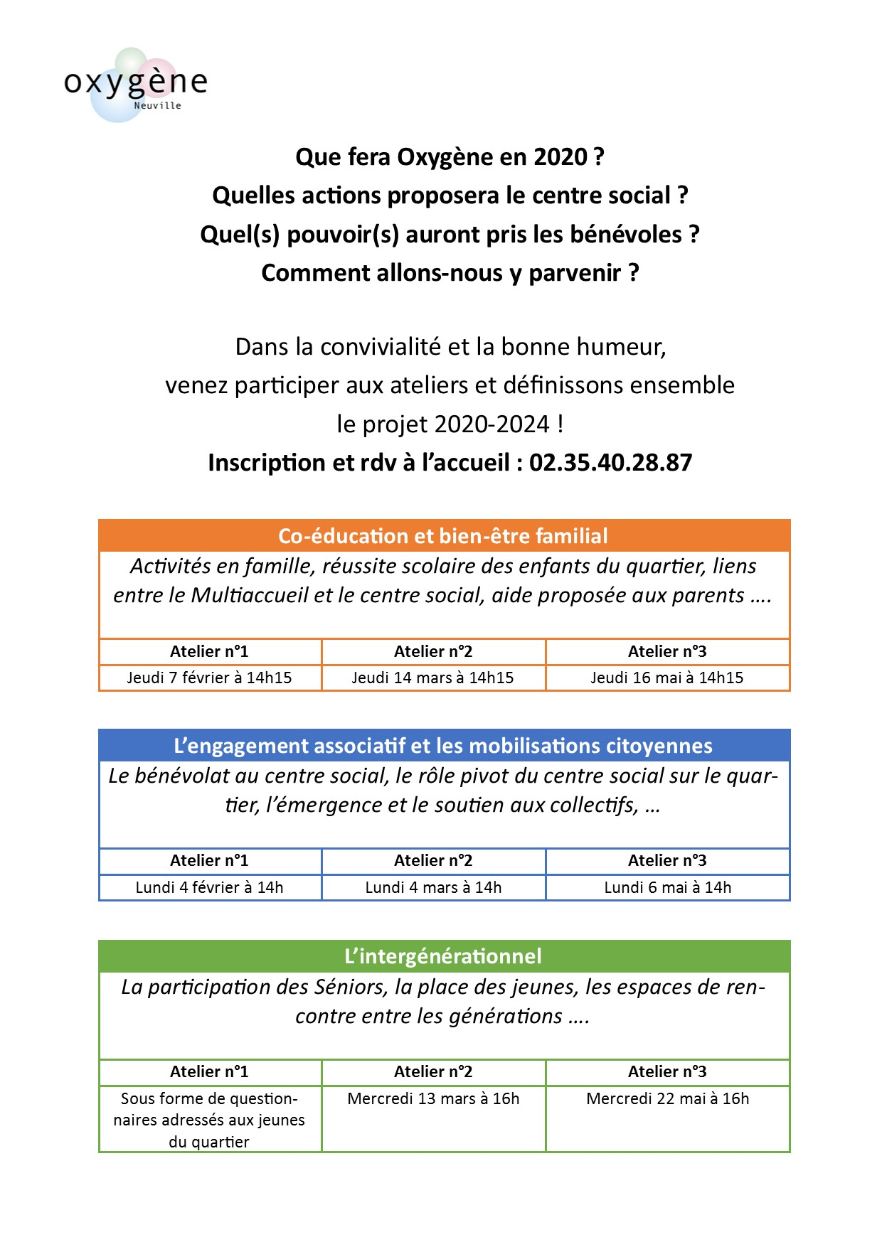 Ateliers planning affiche