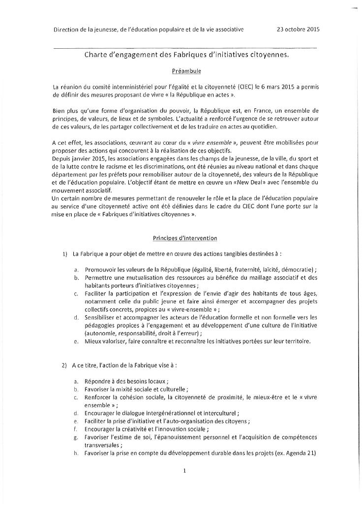 Charte d'engagements des Fabriques d'Initiatives Citoyennes